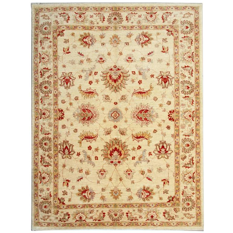 Cream Oriental Afghan Rugs With Persian Ziegler Carpet Design For