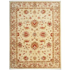 Cream Oriental Rug Floral Afghan Rugs with Persian Ziegler Style Carpet Design