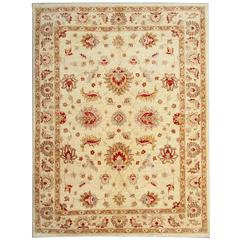 Cream Oriental Afghan Rugs with Persian Ziegler Carpet Design