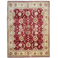 Red Rug, Oriental Rugs, Traditional Carpet Ziegler Mahal Style from Afghanistan