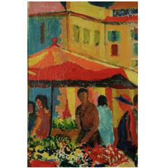 Impressionist Oil  Painting-Green Market