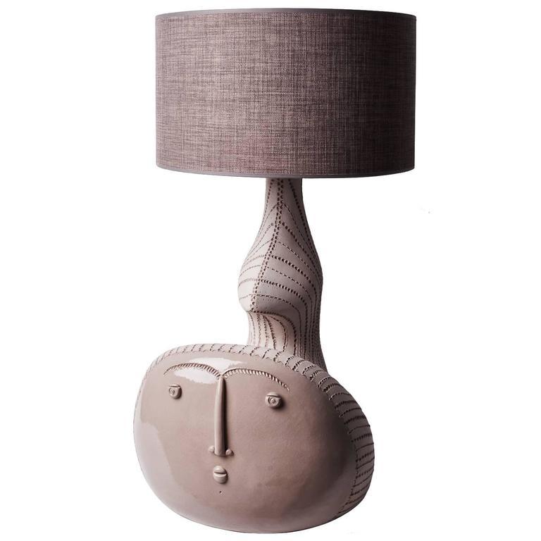 "Large Ceramic Lamp ""Sirène""  Signed by French Ceramist DaLo"