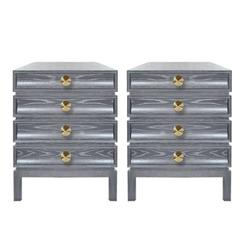 Pair of Stacked End Tables in Grey Ceruse