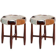 Pair of Jean Gillon Round Stools with Cowhide Seats