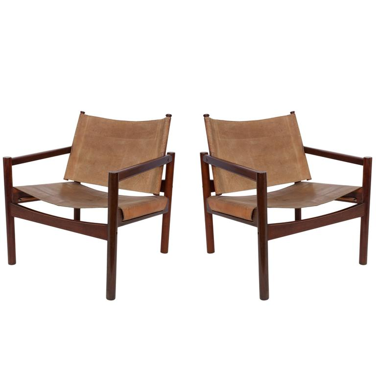 Pair Of Michel Arnoult Leather Sling Back Chairs For Sale