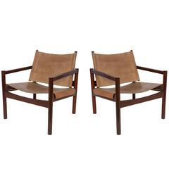 Pair of Michel Arnoult Leather Sling Back Chairs