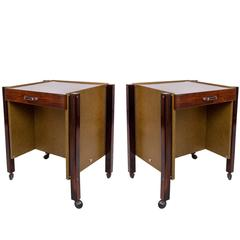 Pair of Jorge Zalszupin Side Tables in Jacaranda and Green Leather