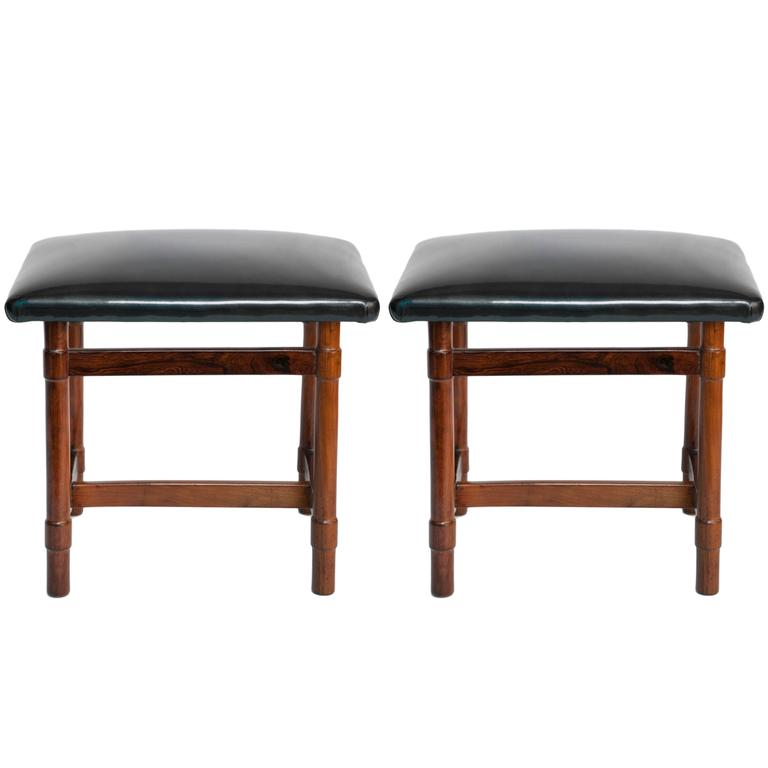 Pair Of Michel Arnoult Jacarand 225 Stools With Leather Seats