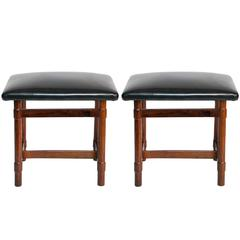 Pair of Michel Arnoult Jacarandá Stools with Leather Seats