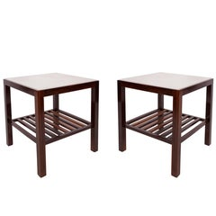Pair of Brazilian Marble-Top Side Tables in Jacarandá