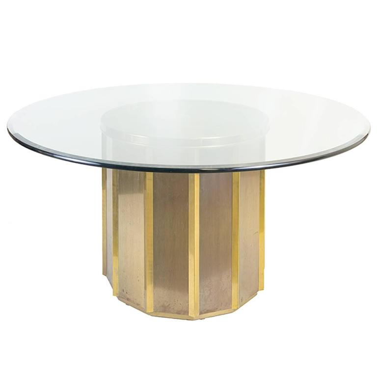 Round Brass Barrel Mastercraft Dining Table Base With Round Glass For Sale