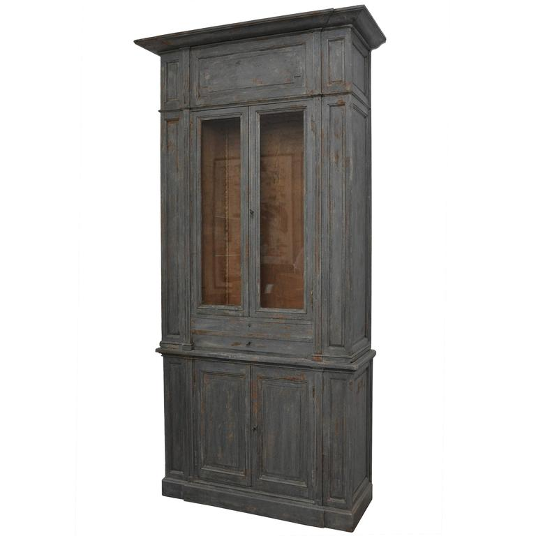 Early 19th Century Extra Tall French Painted Gray Cabinet For Sale