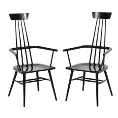 Paul McCobb Pair of High Back Black Lacquered Maple Wood Armchairs, USA 1950's