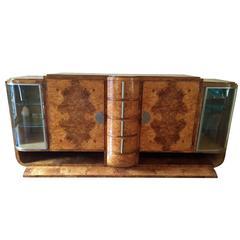 Large Art Deco Burled Elm Buffet