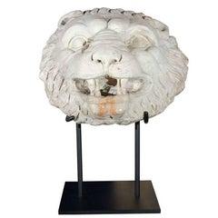 17th Century, Carrera Marble Lion Fountain Head