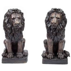 Magnificent Pair of Cast Bronze Sculptures of Sitting Lions