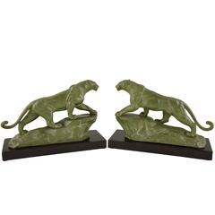 French Art Deco Panther Bookends by Carvin on Marble Base, 1930
