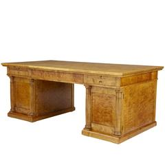 Impressive 19th Century Large Swedish Birch Desk