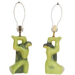 Pair of Mid-Century Heifetz Sculptural Ceramic Lamps