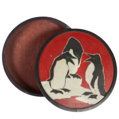 French Art Deco Round Box with Penguins