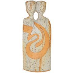 Modernist Two-Headed Sculptural Pottery Vase