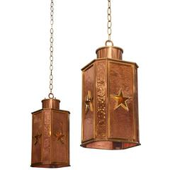 Art Deco Hanging Copper Pendants