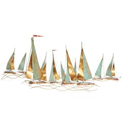 Curtis Jere Brutalist Wall Sculpture with Sailboats, Signed and Dated