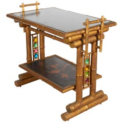 Rare Victorian Japanese Style Gilt Bamboo Service Table