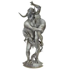 Modernist Sculpture of the Minotaur Abducting a Maiden