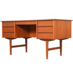 Danish Modern Teak Desk with Bookshelf Back