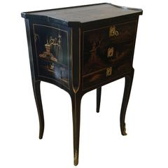 Lovely Antique Chinoiserie Side Table or Night Table with Three Drawers