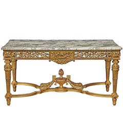 French 19th Century Louis XVI Style Giltwood and Marble Center Table