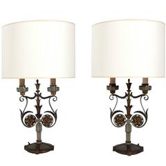 Pair of Rare Art Deco Table Lamps by E.F. Caldwell