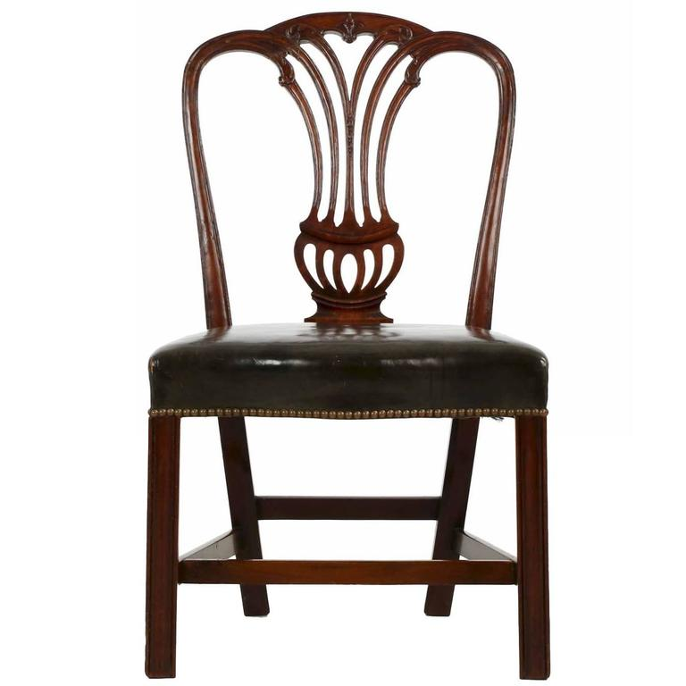 English George III Carved Mahogany Antique Leather Side Chair, Late 18th  Century 1 - English George III Carved Mahogany Antique Leather Side Chair