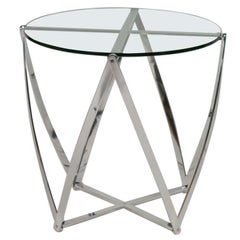 Near Pair of John Vesey Aluminum Glass Top Side Tables