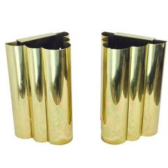 Pair of Brass Tube Style Wall Sconces