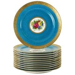 Charles Ahrenfeldt Limoges Gilt Encrusted Hand-Painted Cabinet Plates, Set of 12