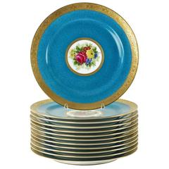 Charles Ahrenfeldt Limoges Gilt Encrusted Hand-Painted Cabinet Plates, Set of 12