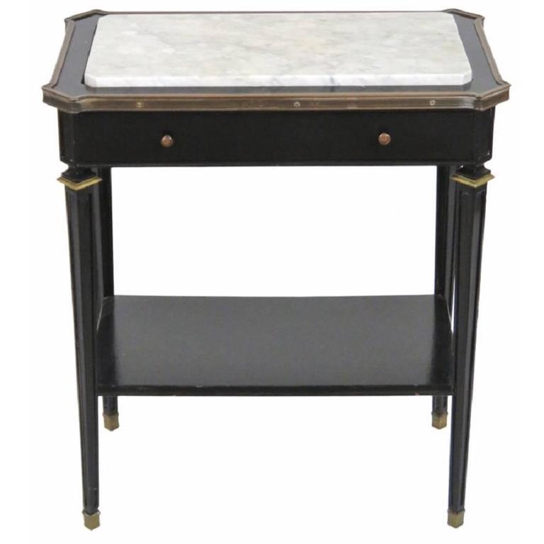 Jansen Ebonized Marble-Top Side Table