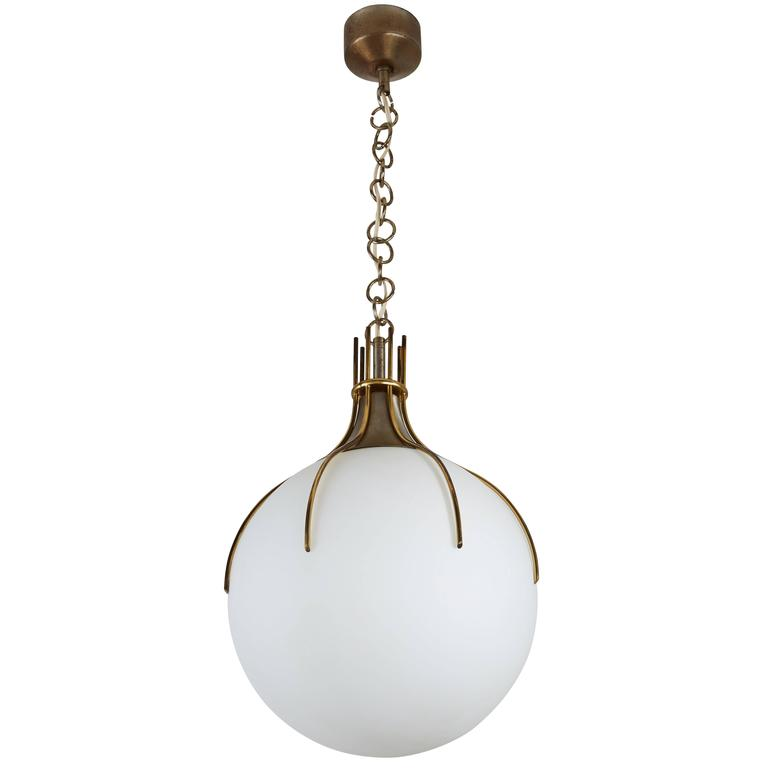 Large Brass and Glass Italian Pendant 1