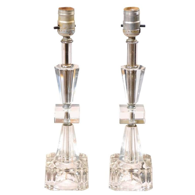 Pair of Petite Art Deco Lamps 1