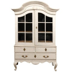 1760s Period Rococo Swedish Cabinet with Glass Doors, Bonnet Top and Cabrioles