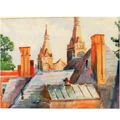 Watercolor Painting-European Village Rooftops