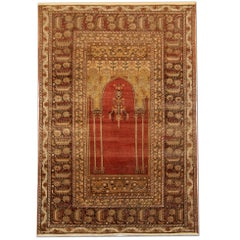 Red Antique Rugs, Traditional Carpet Turkish Rug, Mihrabi Prayer Living Room Rug