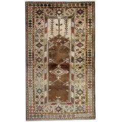 Vintage Rug Milas Turkish Rugs, Brown Rug Carpet from Turkey