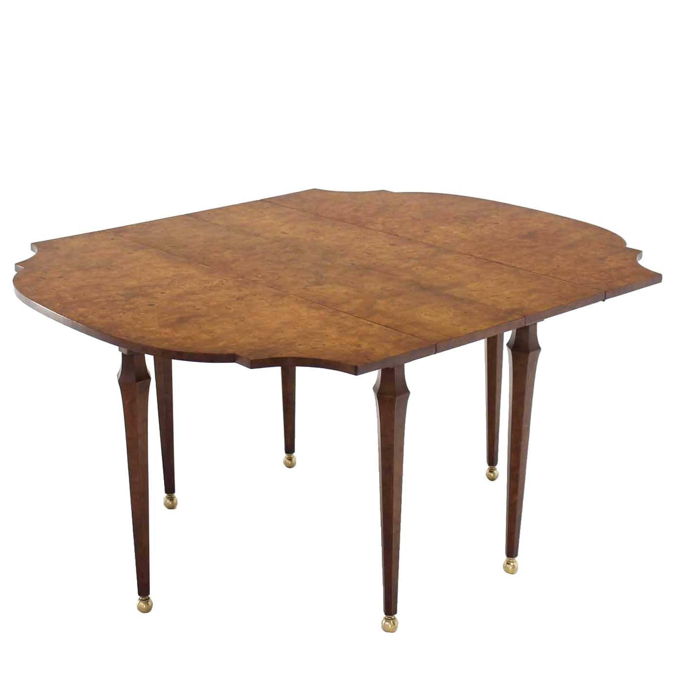 Burl wood drop leaf dining table on brass balls feet for for 9 foot dining room table