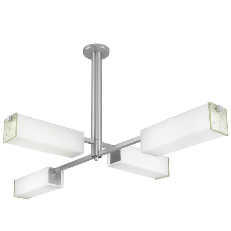 Turnstile Square Glass Pendant Light in Bauhaus Manner, Machined Aluminum