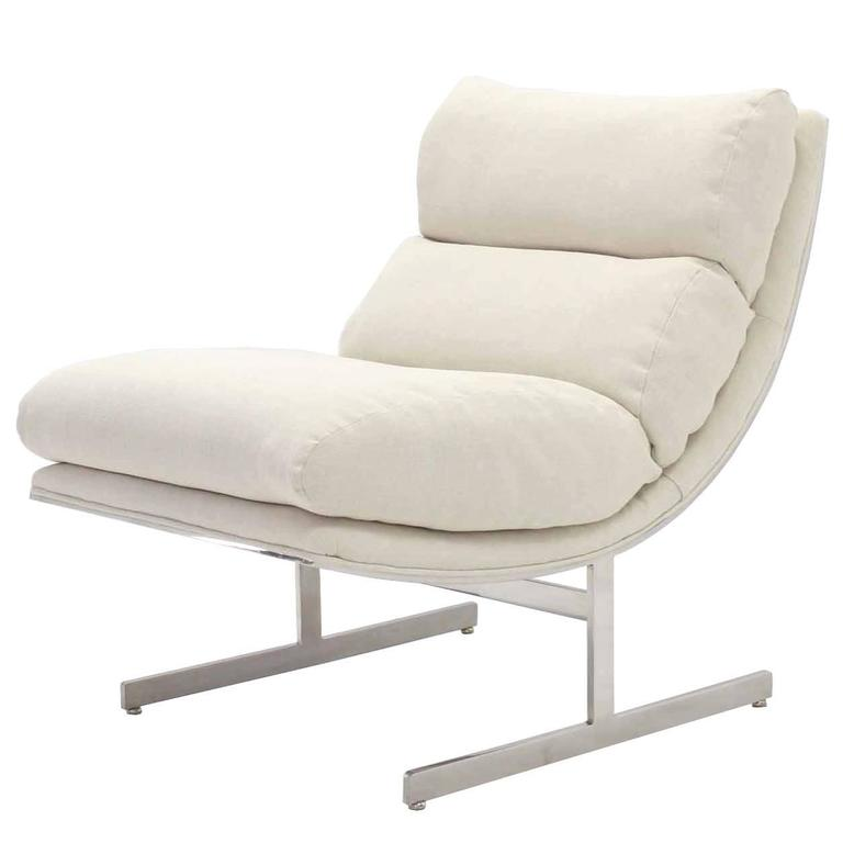 Scoop Chrome Lounge Chair New Upholstery