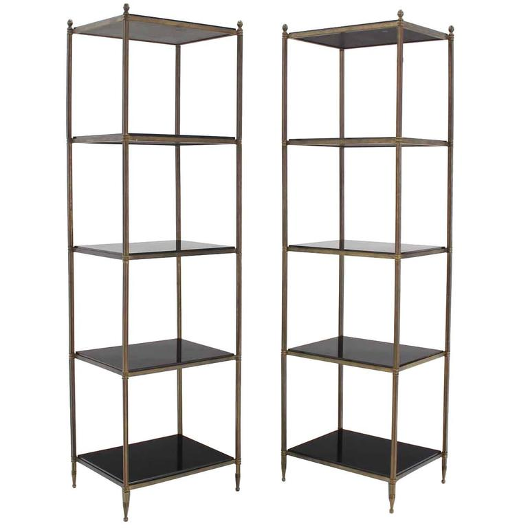 pair of brass etageres with thick granite shelves at 1stdibs. Black Bedroom Furniture Sets. Home Design Ideas