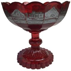 Czech Bohemian Glass Silver-Resist Ruby-Stained Souvenir Compote